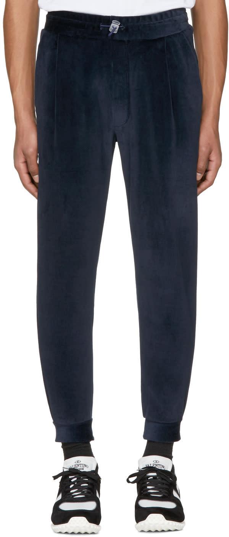 Sunnei Pantalon De Survêtement En Velours Bleu Marine