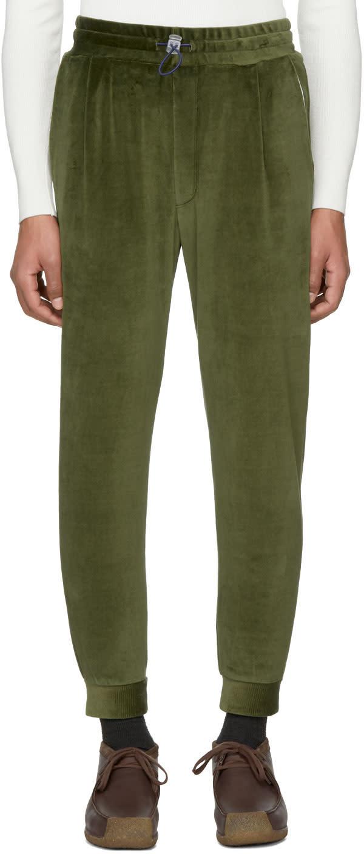 Image of Sunnei Green Velour Jogging Pants