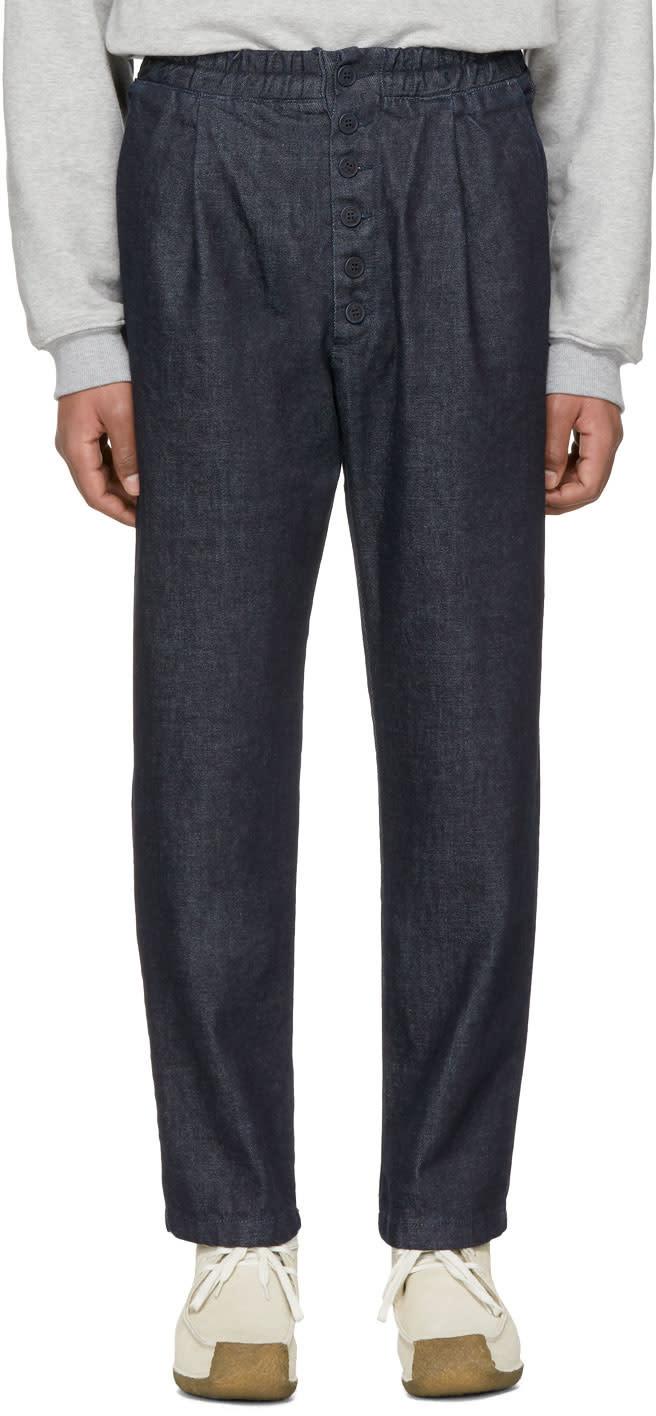 Image of Sunnei Indigo Denim Elastic Trousers