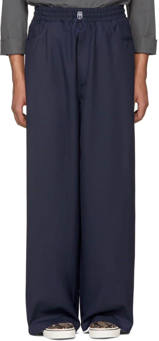 Image of Sunnei Navy Loose Fit Trousers