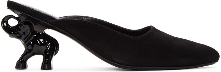 Image of Dorateymur Black Suede Elephant Heel Mules