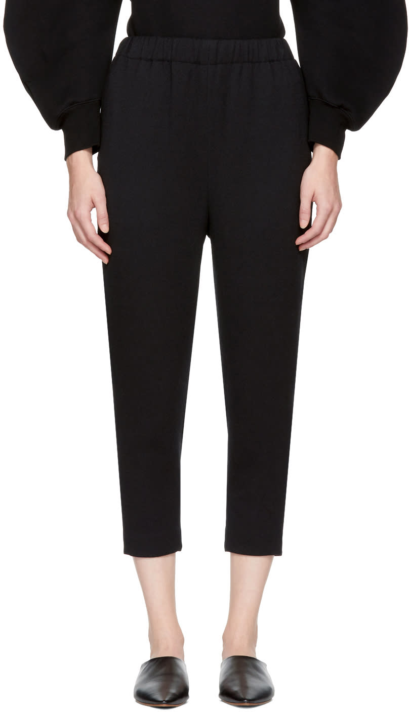 Image of Enfold Black Twill Relaxed Lounge Pants