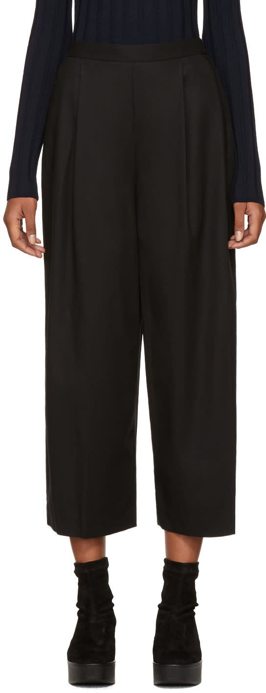 Image of Enfold Black High-rise Wide-leg Trousers