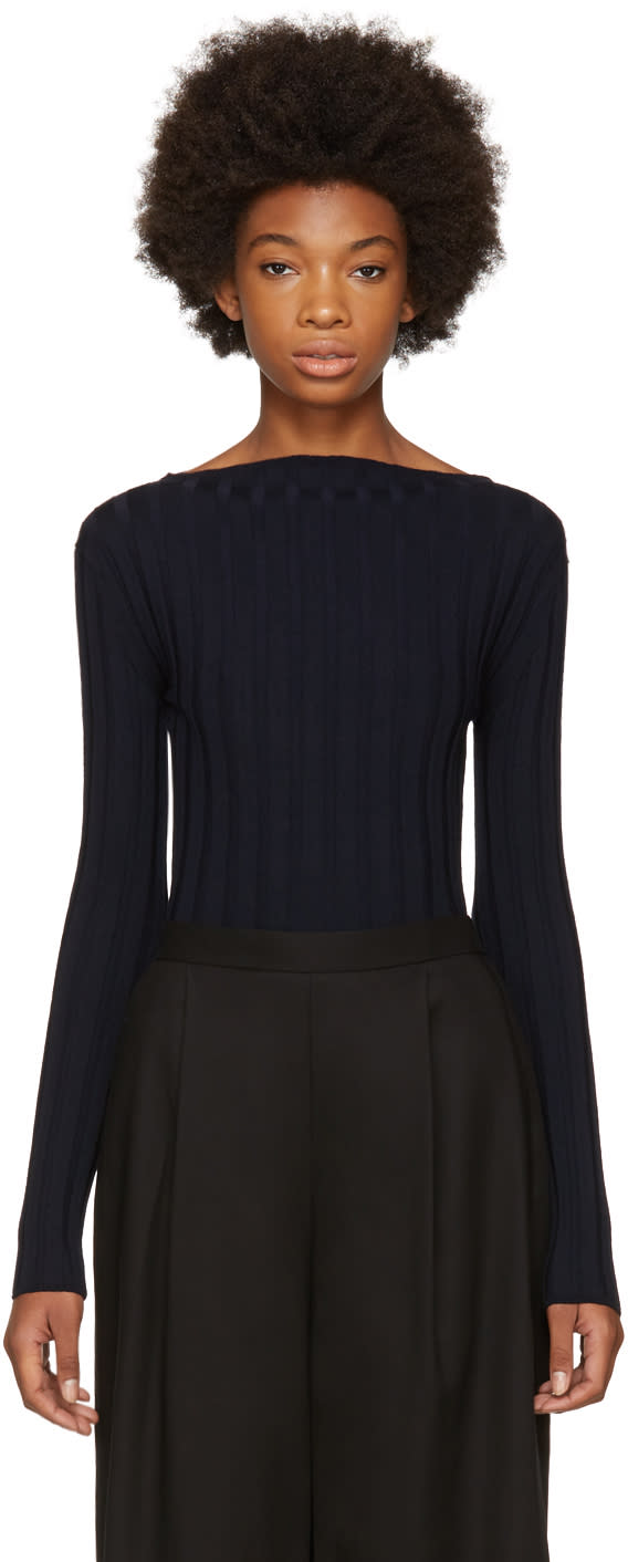 Image of Enfold Navy Ribbed High Neck Pullover