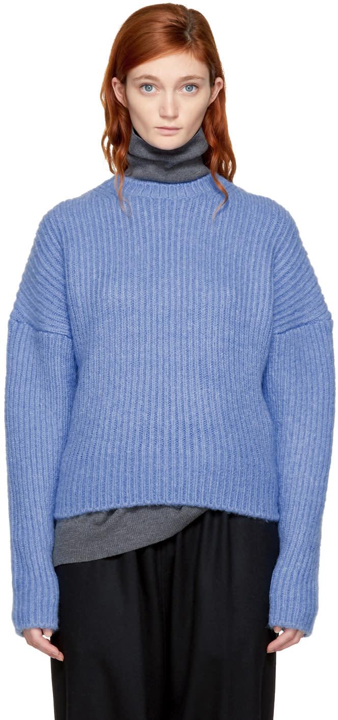 Image of Enfold Blue Fluffy Basic Sweater