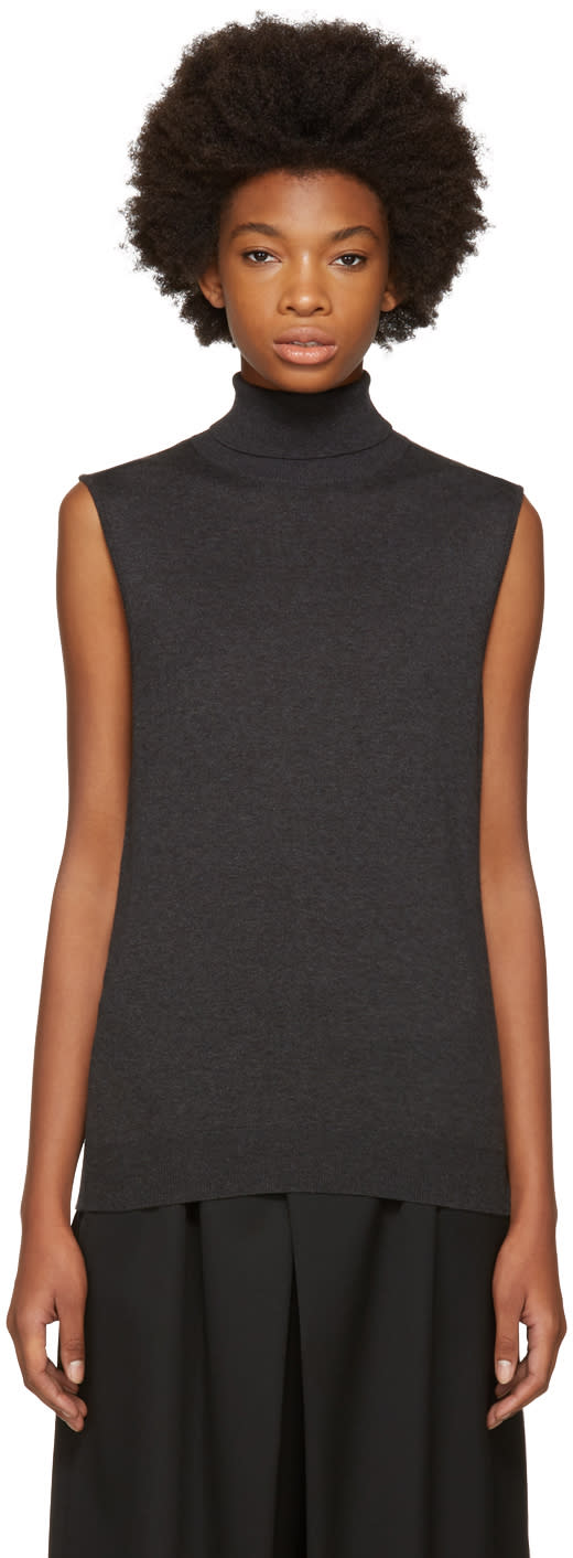 Image of Enfold Grey Sleeveless Turtleneck