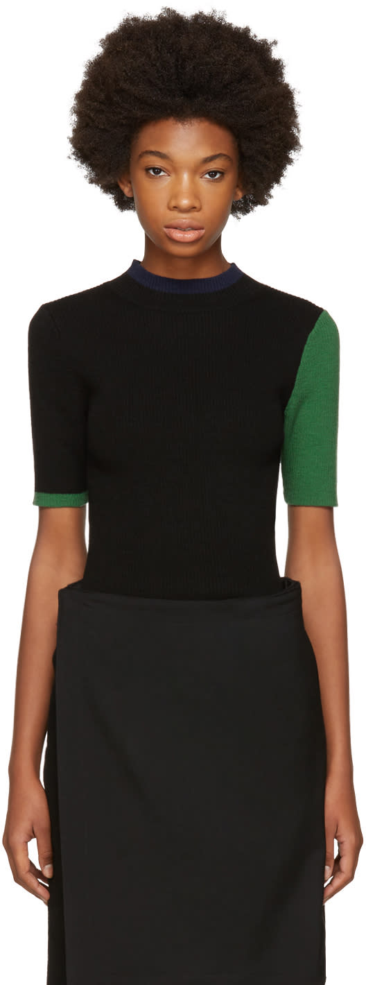 Image of Enfold Black Ribbed Colorblocked Sweater