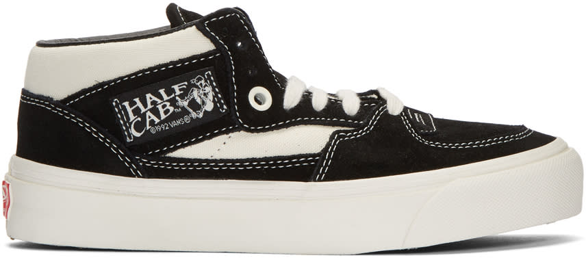 Image of Vans Black and Off-white Suede Og Half Cab Lx Mid-top Sneakers