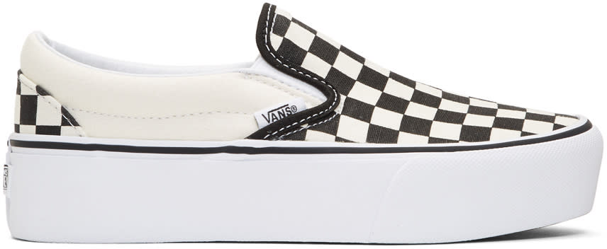 Image of Vans Black and Off-white Checkerboard Classic Platform Slip-on Sneakers