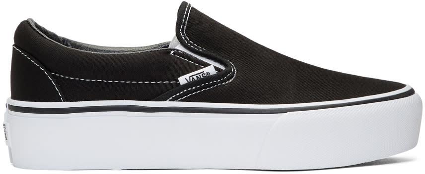 Image of Vans Black Classic Platform Slip-on Sneakers