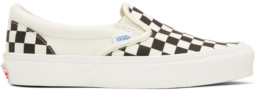Image of Vans Black and White Checkerboard Og Classic Lx Slip-on Sneakers