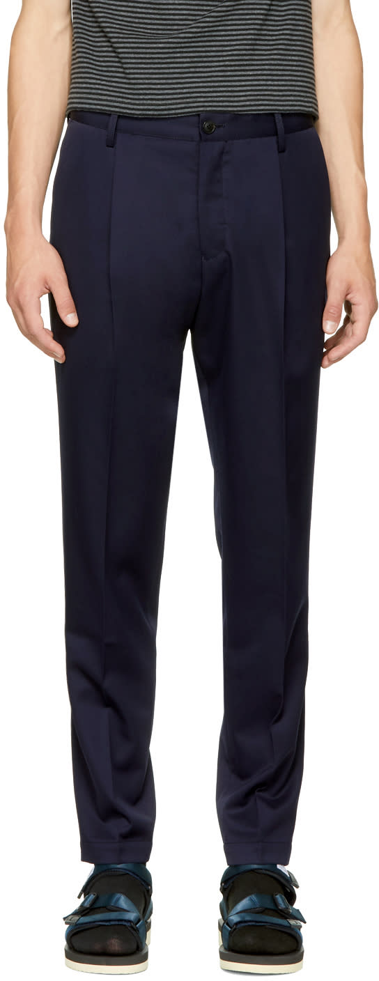 Image of Tomorrowland Navy Pleated Trousers