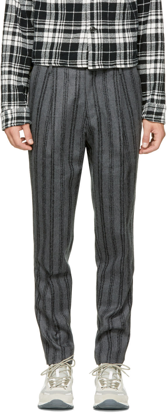 Image of Tomorrowland Grey Striped Pleated Trousers