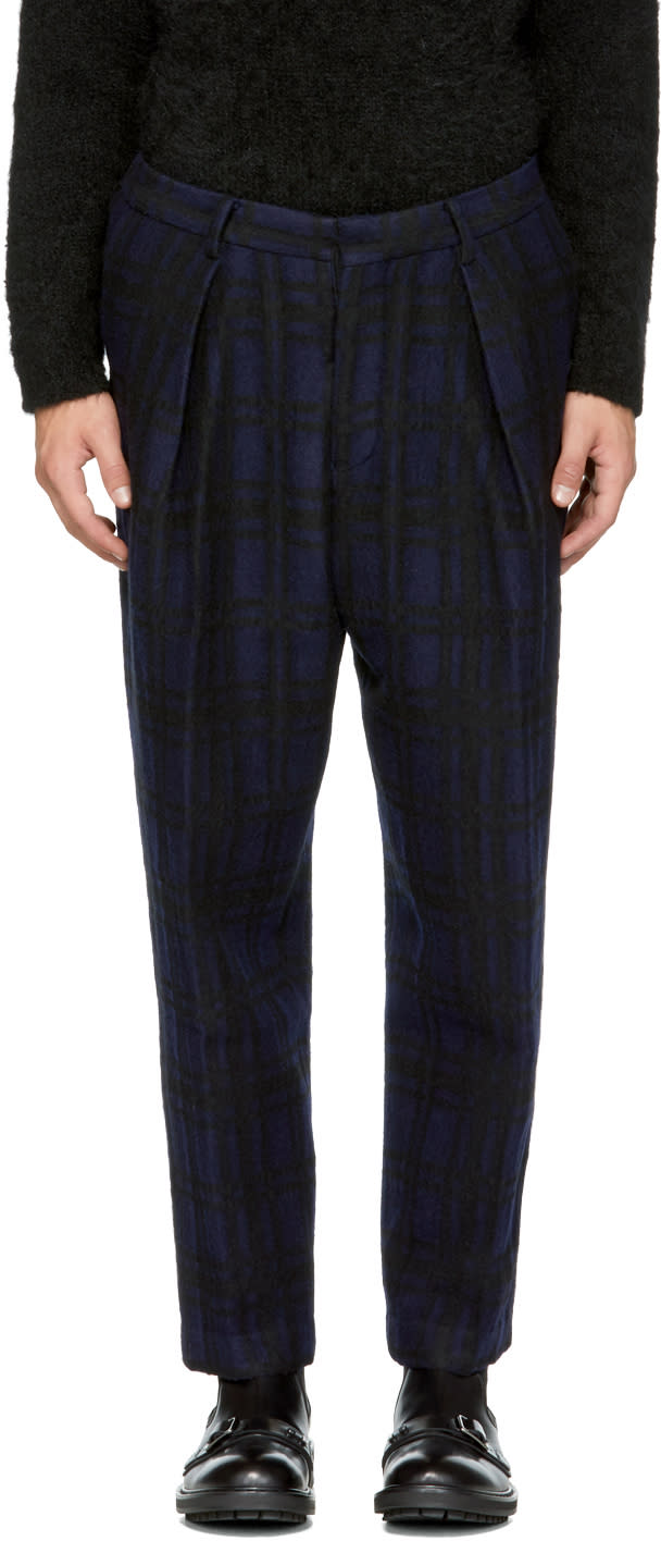 Image of Tomorrowland Blue Check Tuck Wide Trousers