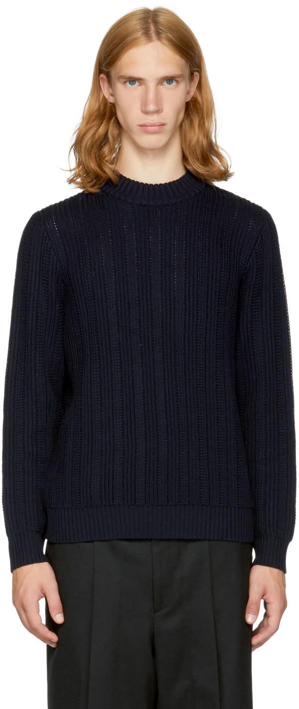 Image of Tomorrowland Navy Merino Mock Neck Sweater