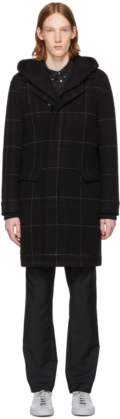 Image of Stephan Schneider Black Check Chrono Coat