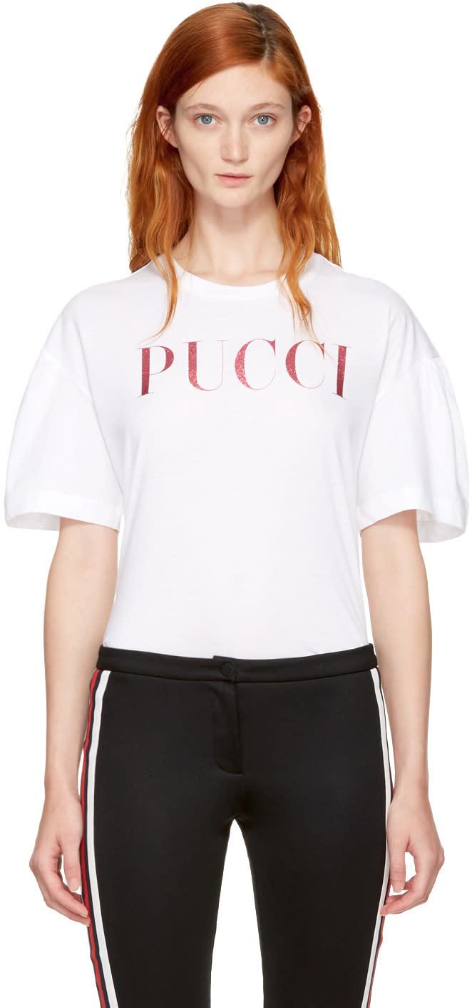 238c076da2b5 Emilio Pucci White and Pink Glitter Logo T shirt