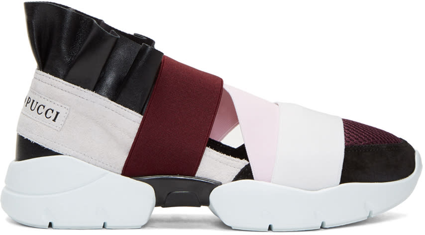 Image of Emilio Pucci Black and Grey Colorblock Sneakers