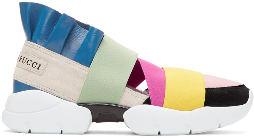 Image of Emilio Pucci Beige and Pink Colorblock Slip-on Sneakers