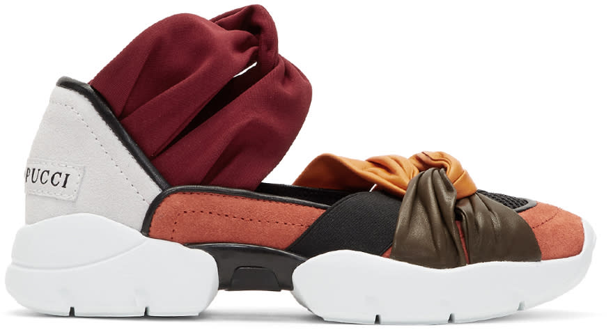 Image of Emilio Pucci Orange and Grey Colorblock Knot Slip-on Sneakers