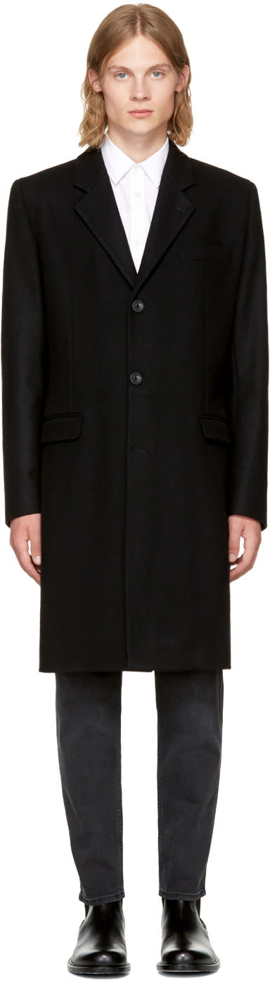 Image of éditions M.r Black Wool Classic Overcoat
