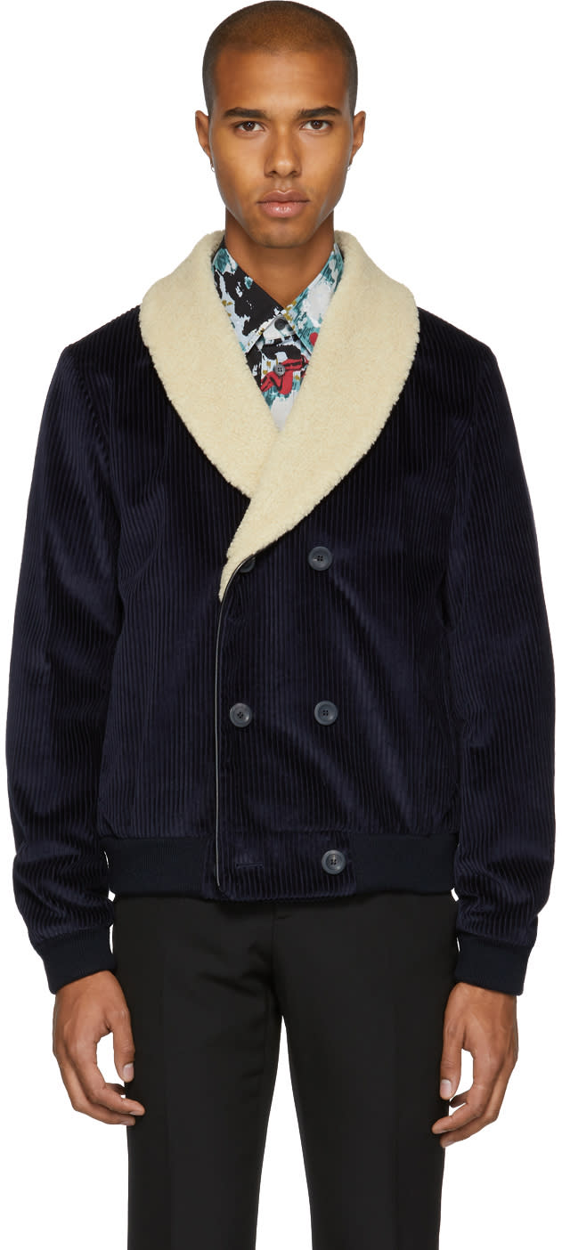 Image of éditions M.r Navy Corduroy Shawl Collar Jacket