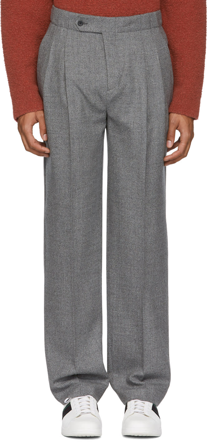 Image of éditions M.r Grey High-rise Pleated Trousers
