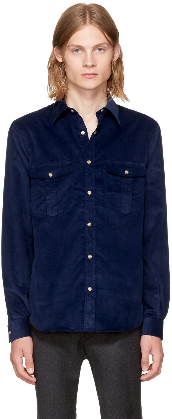 Image of éditions M.r Navy Corduroy Travelling Shirt
