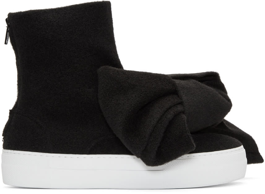 Image of Joshua Sanders Black Felt Bow Sneakers