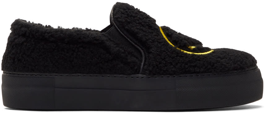 Image of Joshua Sanders Black Fuzzy Smile Sneakers