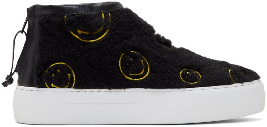 Image of Joshua Sanders Black Fuzzy Smile High-top Sneakers