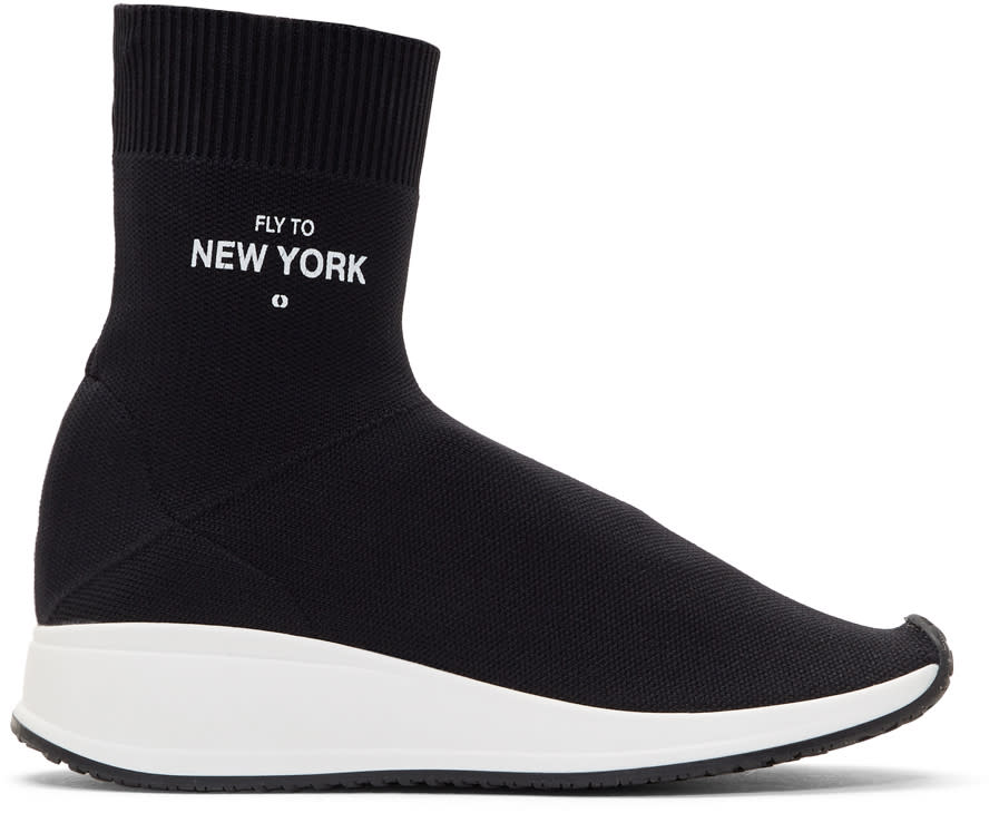 Image of Joshua Sanders Black fly To New York Sock High-top Sneakers
