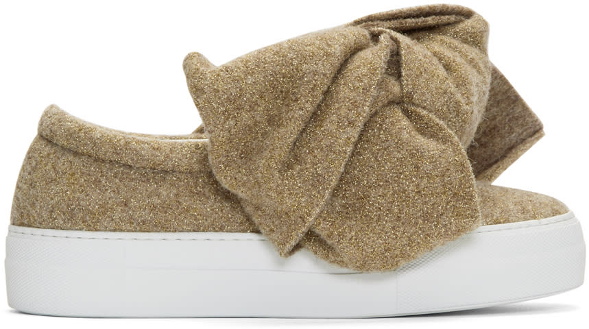 Image of Joshua Sanders Beige Lurex Bow Sneakers