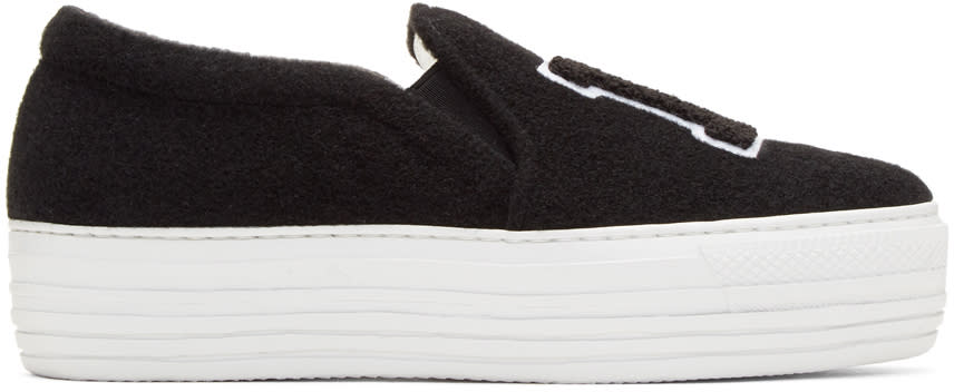Image of Joshua Sanders Black Felt la Platform Slip-on Sneakers