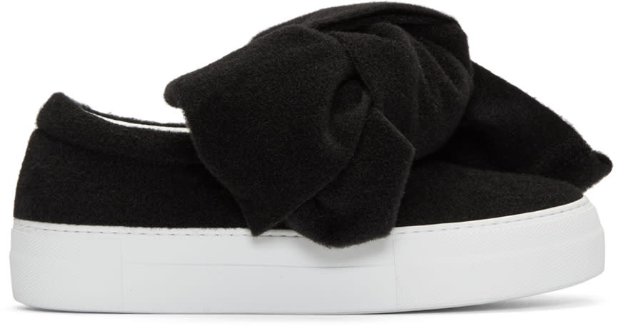 Image of Joshua Sanders Black Felt Bow Platform Slip-on Sneakers