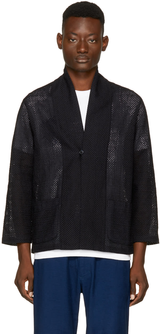 Image of Blue Blue Japan Black Lace Haori Jacket
