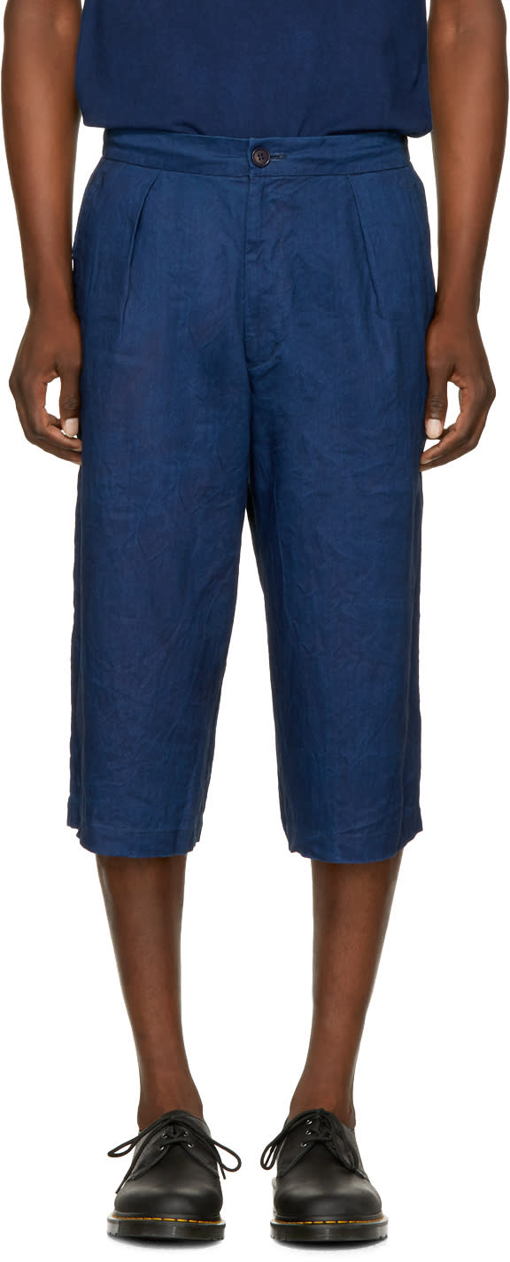 Image of Blue Blue Japan Indigo Linen Wide Shorts