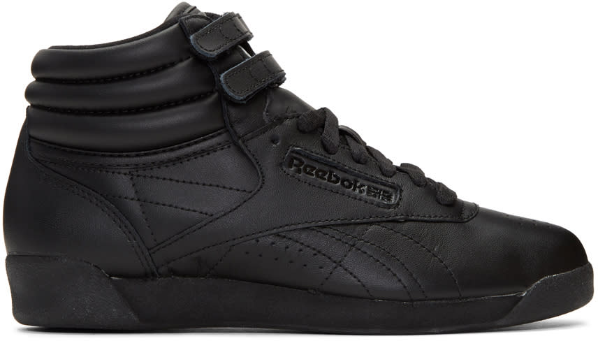 Image of Reebok Classics Black Freestyle High-top Sneakers