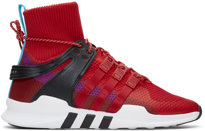 Adidas Originals Red and Purple Eqt Support Adv Winter High-top Sneakers