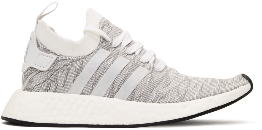 Adidas Originals White and Grey Nmd R2-pk Sneakers