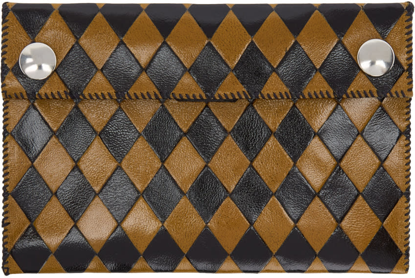 Image of Wales Bonner Black and Yellow Chapal Edition Diamond Wallet