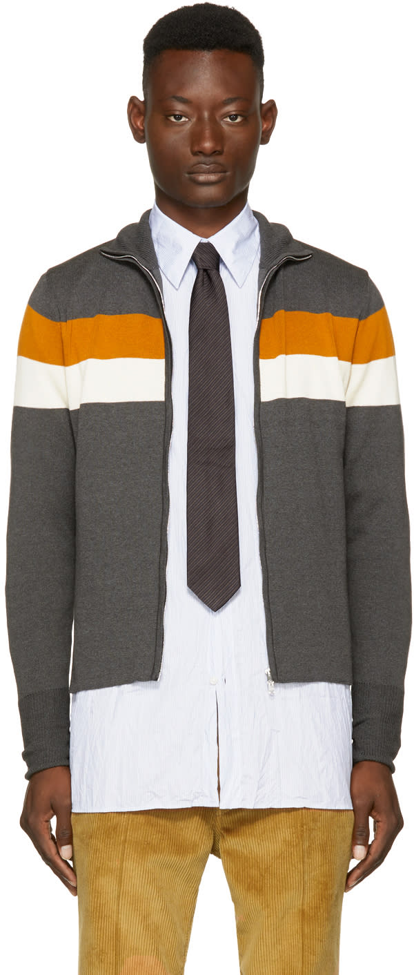 Image of Wales Bonner Grey Emory Zip Sweater
