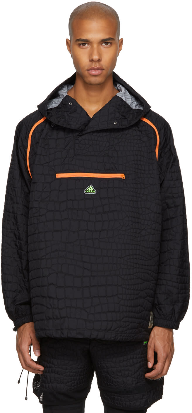 Image of Adidas X Kolor Black Nylon Embossed Jacket