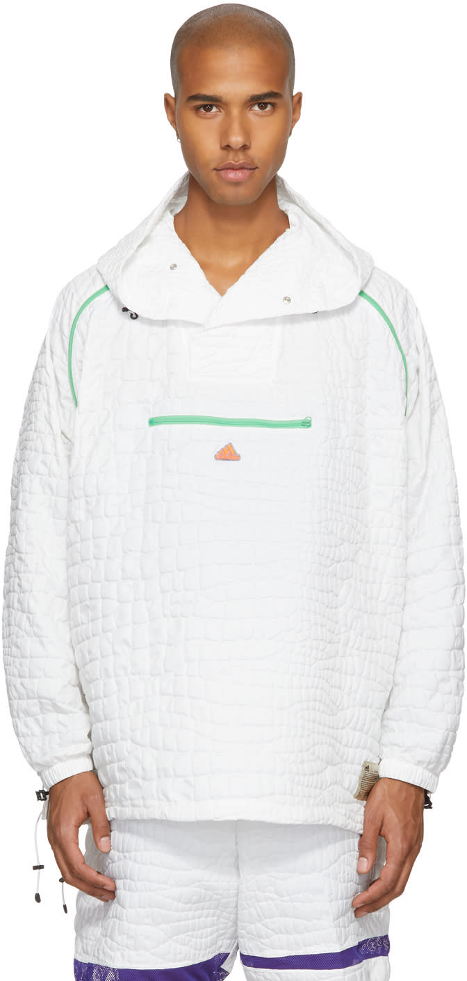 Image of Adidas X Kolor White Nylon Embossed Jacket