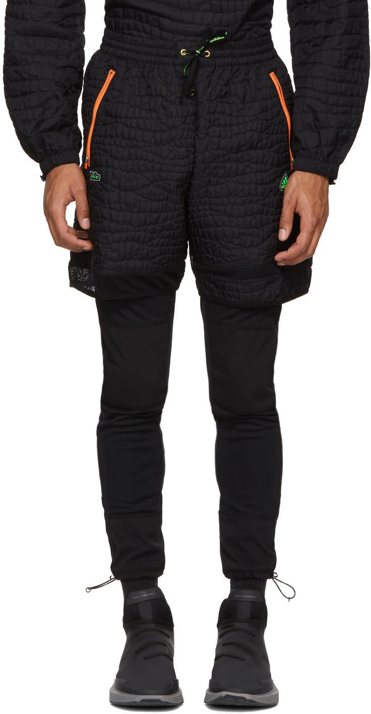 Image of Adidas X Kolor Black Nylon Embossed Shorts