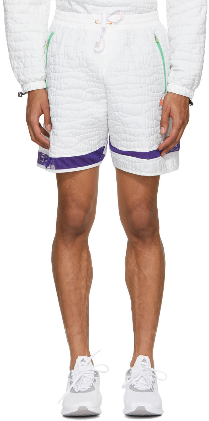 Image of Adidas X Kolor White Nylon Embossed Shorts