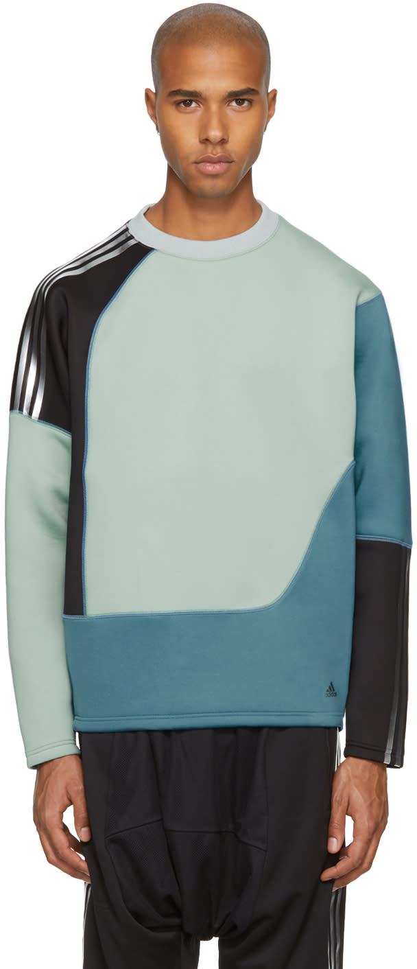 Image of Adidas X Kolor Blue Colorblock Spacer Crew Sweatshirt