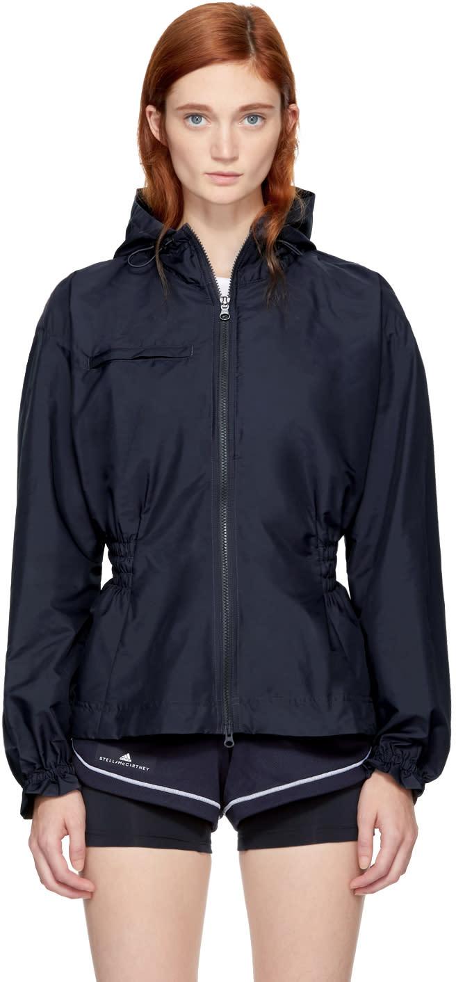 adidas by stella mccartney female adidas by stella mccartney navy hooded running jacket