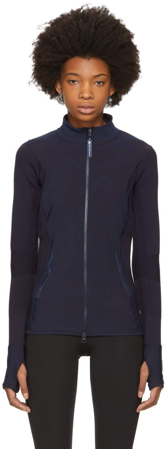 adidas by stella mccartney female adidas by stella mccartney navy knit zipup jacket