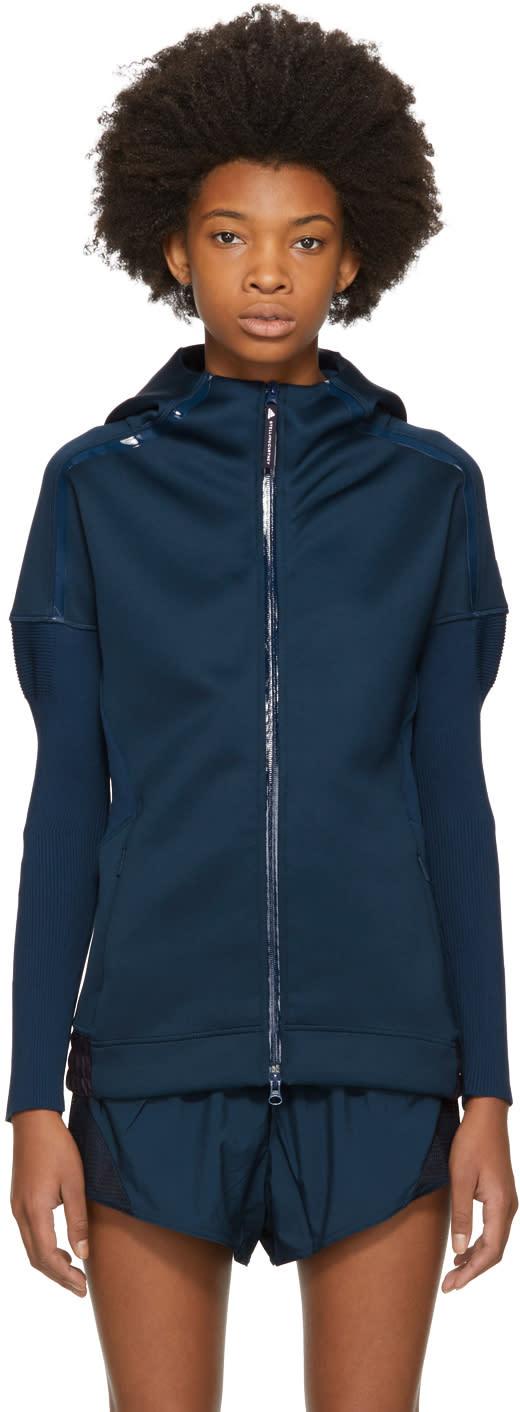adidas by stella mccartney female adidas by stella mccartney navy zne flatknit hoodie